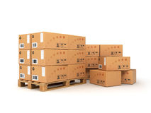 Boxes on the pallet. Isolated on white Royalty Free Stock Images