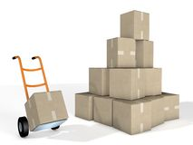 Boxes  and Pallet Trucks Courier Delivery. Boxes Pallet Trucks Courier Delivery 3D Royalty Free Stock Photography