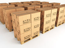 Boxes and pallets Stock Images