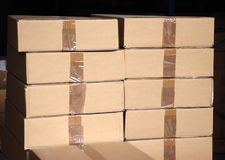Boxes piles Stock Images