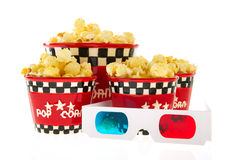 Boxes with popcorn and 3D glasses Royalty Free Stock Photo