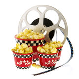 Boxes with popcorn and movie Royalty Free Stock Images