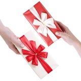 boxes röd white för gåva Royaltyfri Fotografi