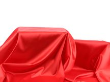 Boxes in red fabric. Royalty Free Stock Image