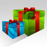 Boxes with Red Ribbons Royalty Free Stock Photography