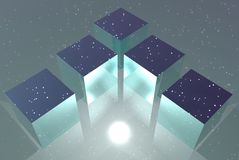 Boxes reflecting stars Royalty Free Stock Photo