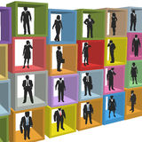 boxes resurser för folk för affärscubiclekontor Arkivfoto