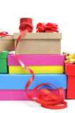 Boxes and ribbons to prepare gifts Stock Photography
