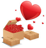Boxes of roses Stock Images