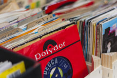 Boxes of 45 rpm vinyl records. In Broadway Market, Hackney, London, England, United Kingdom Stock Photography