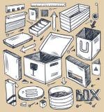 boxes samlingen royaltyfri illustrationer