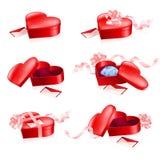 boxes set form för hjärtared Arkivbilder