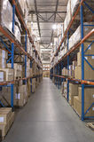 Boxes On Shelves In Warehouse Royalty Free Stock Photography