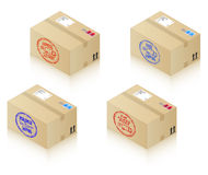 Boxes with shipping stamps. Express Delivery, 1st Class Post, Worldwide Shipping and Free Shipping Stock Image