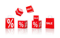 Boxes and shopping bags with sale and percent sign Stock Photo