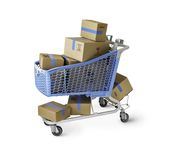 Boxes in Shopping Cart with clipping path Royalty Free Stock Image