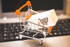 Buying and selling online, idea about digital commerce stock image