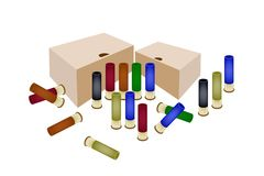 Boxes of Shotgun Shells on White Background. Gun Accessory, An Illustration of Storage Boxes and Shotgun Shells in Various Colors Isolated on White Background stock illustration