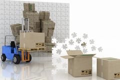 Boxes shown in plane of puzzle and forklif Stock Photography