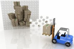 Boxes shown in plane of puzzle and forklift Stock Photography