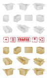 Boxes and sign collection. High detail vector illustration of boxes Royalty Free Stock Photo