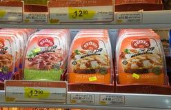 Boxes of sliced pastrami on shelf at Israeli food supermarket Stock Image