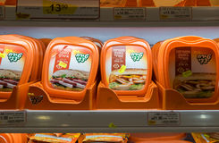Boxes of sliced pastrami on shelf at Israeli food supermarket Royalty Free Stock Images