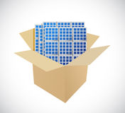 Boxes and solar panels illustration design Royalty Free Stock Photo