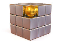 Boxes and sphere. Abstract image Royalty Free Stock Photography