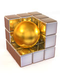 Boxes and sphere. Abstract image Stock Images