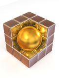 Boxes and sphere. Abstract image Royalty Free Stock Photo