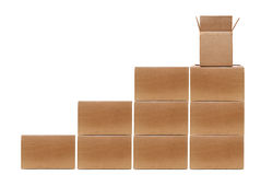 Boxes Stacked. Stacked cardboard boxes on white background Stock Photos