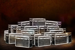 Boxes stage equipment for a concert. On old dark background Stock Photo