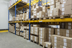 Boxes on a stillage. In a warehouse royalty free stock photography