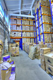 Boxes of stored records in warehouse, secure document storage fa Stock Image
