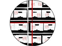 Boxes of Tax Documents with Crosshairs Royalty Free Stock Photo