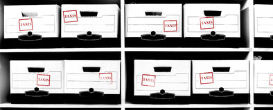 Boxes of Tax Documents with Stamp Royalty Free Stock Photography