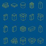 Boxes Thin Line Icon Set. Vector. Boxes Thin Line Style Design Icon Set Different Types Big, Small, Round or Square for Web and App. Vector illustration of Box Royalty Free Stock Photos