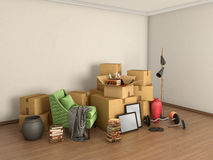 Boxes with things in the middle of an empty room, Stock Photo