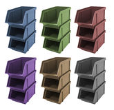 Boxes for tools. Six boxes for tools - colored Stock Image