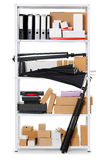 Boxes and tools on shelves, white metal rack, isolated object photo, domestic and business warehouse concept Royalty Free Stock Images