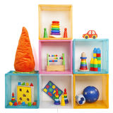 Boxes with toys Stock Photo