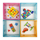 Boxes with toys Royalty Free Stock Images