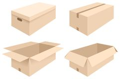 Boxes. Vector illustration of different boxes of cardboard, open and closed stock illustration