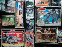 Boxes of vintage Star Wars toys stock images