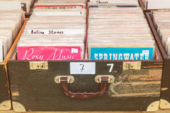 Boxes with vinyl turntable records on a flea market Stock Image