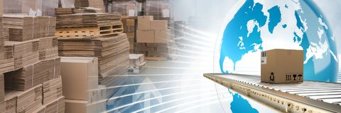 Boxes in warehouse, transition. Digital composite of boxes in warehouse, transition Stock Photography