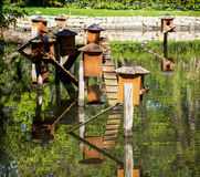Boxes for waterfowl nesting on the water Stock Photo