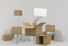 Boxes Whit Surprise Stock Photography