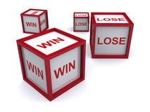 Boxes with win and lose. Boxes with the words win and lose printed on them Stock Image